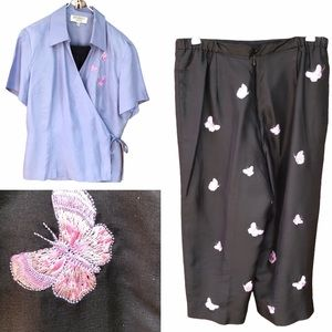 Studio I 12P Embroidered Silk Butterfly Pants Suit